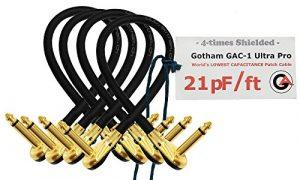 4unités–Gotham Gac-1Ultra Pro–30,5cm (30cm)–Low-cap (21pf/FT) effets Guitare basse Instrument, câble patch avec Plaqué or, profil bas, Pancake à angle droit type TS Connecteurs (6.35mm)