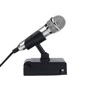 Adorable Mini microphone à condensateur caraoké avec support pour microphone et support pour microphone pour téléphone portable s argenté