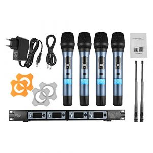 ammoon Système de Microphone Sans Fil 4D 4 Canaux UHF 4 Microphones 1 Récepteur Sans Fil Câble Audio de 6,35 mm Affichage LCD pour Karaoké Soirée