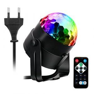 AOGUERBE Lampe de Scène,Éclairage de Discothèque, Mini Lumière Disco RGB LED Projecteur Effet Spot DJ Boule Cristal Disco Eclairage Déco Atmosphère Soirée Fête Anniversaire [Avec Télécommande ]