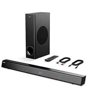Barre de son avec Subwoofer, ABOX Barre de son pour TV 34 Pouces 120W 2.1 Canal Haut-Parleur, Wireless & Wired Bluetooth 4.2 Soundbar, Son Surround Home Cinéma, Commande Tactile et à Distance