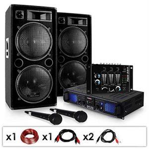 DJ SET «DJ-20.1″ • Pack sono pro • Set sono • Set enceintes • Table de mixage • Amplificateur PA • Subwoofers basses 12» • 2000 w • AUX • USB • SD • 2x Micro dynamique • 2x Adaptateur jack