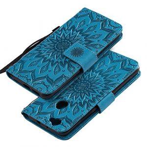 EINFFHO Coque Huawei Nova, Gaufrage Fleurs Coque en Cuir avec Souple Silicone Portefeuille Leather Folio Flip Housse Étui pour Huawei Nova Wallet Pouch Case Cover, Bleu