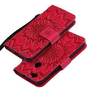 EINFFHO Coque Huawei Nova, Gaufrage Fleurs Coque en Cuir avec Souple Silicone Portefeuille Leather Folio Flip Housse Étui pour Huawei Nova Wallet Pouch Case Cover, Rouge