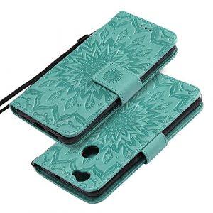 EINFFHO Coque Huawei Nova, Gaufrage Fleurs Coque en Cuir avec Souple Silicone Portefeuille Leather Folio Flip Housse Étui pour Huawei Nova Wallet Pouch Case Cover, Vert