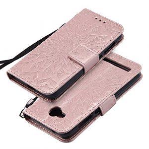 EINFFHO Coque Huawei Y3 II, Gaufrage Fleurs Coque en Cuir avec Souple Silicone Portefeuille Leather Folio Flip Housse Étui pour Huawei Y3 II Wallet Pouch Case Cover, Or Rose