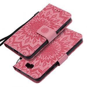 EINFFHO Coque Huawei Y5 II/Y6 II, Gaufrage Fleurs Coque en Cuir avec Souple Silicone Portefeuille Leather Folio Flip Housse Étui pour Huawei Y5 II/Y6 II Wallet Pouch Case Cover, Rose