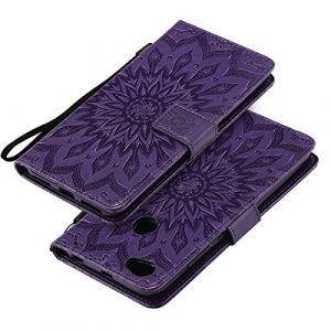 EINFFHO Coque Redmi Note 5A Prime, Gaufrage Fleurs Coque en Cuir avec Souple Silicone Portefeuille Leather Folio Flip Housse Étui pour Redmi Note 5A Prime Wallet Pouch Case Cover, Violet