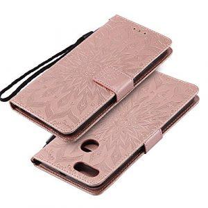 EINFFHO Coque Xiaomi Mi 5X/A1, Gaufrage Fleurs Coque en Cuir avec Souple Silicone Portefeuille Leather Folio Flip Housse Étui pour Xiaomi Mi 5X/A1 Wallet Pouch Case Cover, Or Rose