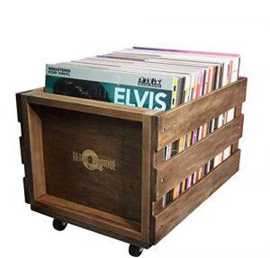 en Bois LP Record de Caisse de Stockage pour jusqu'à 100Albums, par rétro Musique –