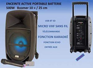 Enceinte Active Sono Autonome Portable Boomer 10″ 500W LED INTÉGRÉES USB Micro SD Bluetooth Micro sans Fil VHF Fonction KARAOKÉ ENTRÉES AUX/Micro/TC/Gamme INTERMÉDIAIRE