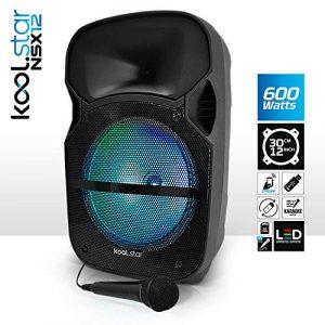 Enceinte Sono Karaoké à LEDs RVB 12″/31cm 600W – USB/BT/SD + Microphone – Koolstar NSX12))