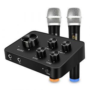 Ensemble de système de mixage mixer de microphone portable karaoké, avec double micro sans fil UHF, entrée/sortie HDMI et AUX pour karaoké, cinéma maison, amplificateur, haut-parleur
