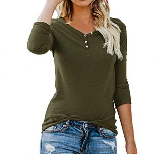 ❤ Femme Mode Casual Boutons Col Rond Couleur Unie Manches Longues Slim Chic Pullover T Shirt Tops Simple Blouse feiXIANG (Vert,L)