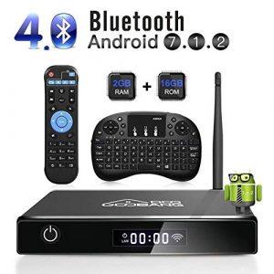 GooBang Doo Android 7.1 Smart TV Box, 2019 XB-III Boîtier TV 2Go RAM 16Go ROM Quad Core Réel 4K H.265 WiFi 2.4GHz Bluetooth V4.0 avec Mini Clavier(QWERTY) Touchpad sans Fil