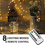 Guirlande lumineuse, Nasharia 10M 100LED USB actionné-8 Modes Décoration Romantique Fil de Cuivre pour Fête Festival Noël Mariage Etanche IP65 (Blanc Doux)