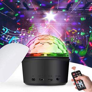 iKALULA Lampe de Scène, Veilleuse Ampoules de scène Boule de cristal LED Éclairage de Discothèque Fête Éclairage Audio Bluetooth USB Lecteur MP3 Disco Light Spot Projecteur Effet DJ Éclairage