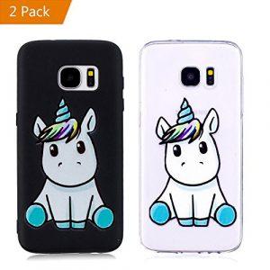 KM-Panda Coque Samsung Galaxy S8 Licorne Noir + Transparent Silicone TPU Transparent Motif Ultra Fine Slim Bumper Antichoc Etui Housse Case Cover