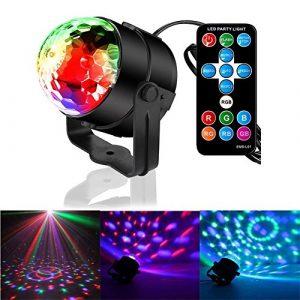 Lampe de Scène GOSCIEN Éclairage de Discothèque Jeux de Lumière Commande Sonore Disco Ball RGB Effet Led Lumière d'Ambiance pour Disco, Fête d'anniversaire, Noël, Mariage, KTV etc.