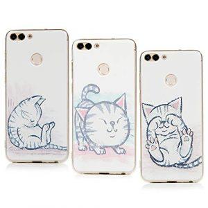 Lanveni Lot de 3 Coque pour Huawei P Smart, Soft Housse étui de Protection en TPU Souple Silicone Transparent Slim Antichoc Ultra-Thin Fine Mince Premium léger – Chat amusé