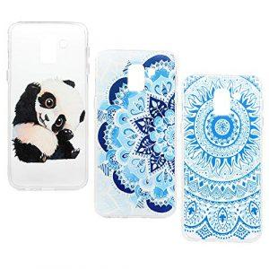 Lanveni Lot de 3 Coque pour Samsung Galaxy J6 2018, Soft Housse étui de Protection en TPU Case Souple Silicone Transparente Slim Doux Antichoc Ultra-Thin Fine Mince Premium léger – Fleur Totem