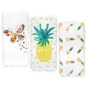 Lanveni Lot de 3 Coque pour Samsung Galaxy J6 2018, Soft Housse étui de Protection en TPU Souple Silicone Transparent Slim Antichoc Ultra-Thin Fine Mince Premium léger – Ananas de rhubarbe