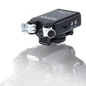 Microphone vidéo stéréo Movo VXR280 avec condensateur sur Appareil Photo et Micro Capsules directionnelles réglables 90°-120°