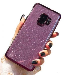 Misteem Fine Paillettes Coque Galaxy S9, Luxe Flash Glitter Diamant Silicone Couverture Souple Ultra Mince Antichoc Sparkle Brillant Cristal Étui pour Samsung Galaxy S9 [Pourpre]