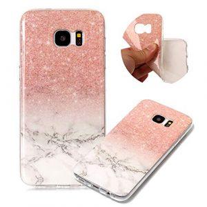Moiky Marbre Matte Coque pour Galaxy S7 Edge,Souple Housse pour Galaxy S7 Edge, élégant Creatif Rose Blanc Marbre Motif Ultra Mince Flexible Gel TPU Antichoc Étui de Protection