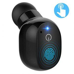 Mpow Oreillette Bluetooth 4.2 sans Fil Tactile Mini Écouteur Bluetooth Intra-auriculaire Écouteur Invisible Mono Casque Audio avec Micro Kit Mains Libres [2 Chargeurs USB] pour iPhone, Samsung, etc.