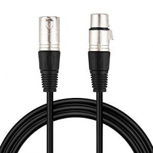 Mugig Câble Microphone XLR Audio Avec Plaqué PVC Mono Argent Mâle à Femelle 3-Pin 95% Blindage Fil Equilibré(3m)