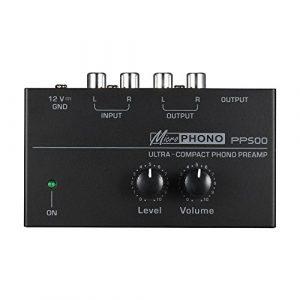 Muslady Préamplificateur phono préampli ultra-compact avec commandes de niveau et de volume Entrée et sortie RCA Interfaces de sortie 1/4″ TRS
