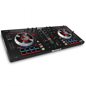 Numark Mixtrack Platinum – Contrôleur DJ 4 voies, LCD, Jog Wheels Tactiles en Métal 5″, Barre Tactile Multifunction, Interface Audio 24-bit, Plus Serato DJ Intro et Remix ToolKit de Prime Loops Inclus