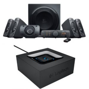 Pack Logitech : Hauts-parleurs Z906 5.1 avec télécommande sans-fil + Adaptateur Audio Bluetooth pour Haut-parleurs PC/Système stéréo/Récepteur A/V