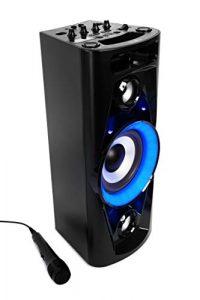 Reflexion PS07BT Système DJ Karaoké PA, avec Batterie et Effets Lumineux (Bluetooth, USB, AUX, Prise Microphone, raccordement de Guitare, 320W), Noir