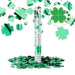 Relaxdays Lanceur de confettis trèfle Quatre Feuilles 40 cm Canon Pluie Chance Nouvel an Carnaval, Vert métallique