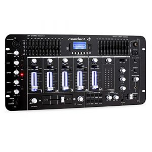 Resident DJ Kemistry 3BK • Table de mixage DJ • Mixeur 4 canaux • Console de mixage DJ • Bluetooth • Port USB • Port SD • Compatible MP3 • 2 x entrée RCA-Phono/Line • Égaliseur 10 Bandes • Noir