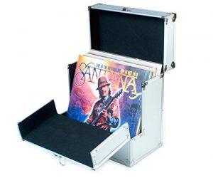 Rétro Musique Aluminium 12 «Vinyl Case LP Storage Case avec rabat avant pliable unique pour un meilleur accès à vos LPs