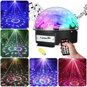 UBEGOOD Lampe de Scène, Lumière de Stade Eclairage Soirée, Projecteur Spot RGB LED, Lumière Ampoule Boule Cristal pour KTV Bar, DJ Disco, Fête, Club