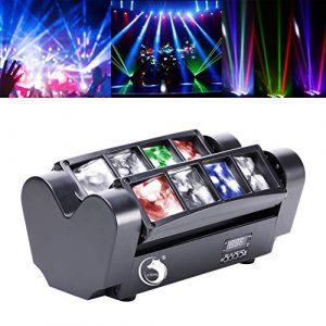Yimosi 60W Lyre 8 Leds,Disco Lumière d'araignée DMX512 RGBW4 en 1 Lampe de Scène Commande Vocale Éclairage DJ Soirée Fête Bar Club