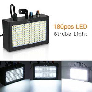 180 LEDs Lumière stroboscopique,Tomshine éclairage de scène, Auto/Vocale Commande Mode, Vitesse réglable pour DJ Anniversaire Mariage Fête Bar KTV(Blanche)