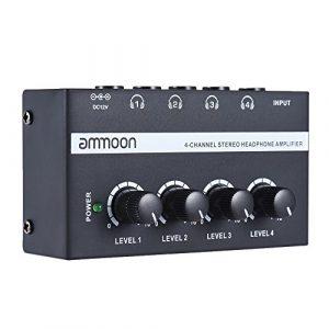 ammoon 4 Canaux Mini Amplificateur de Casque Audio Stéréo Ultra-Compact HA400 avec Adaptateur Secteur