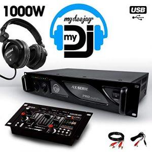 Amplificateur sono 1000W MY DEEJAY AX-1000 MyDj + Table de mixage DJ21 USB + Casque audio Gemini DJX-07 DJ
