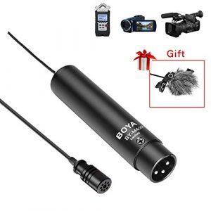 BOYA BY-M4OD Alimentation fantôme XLR micro-cravate omnidirectionnelle pour microphone coudier pour caméscopes Canon Sony Panasonic Enregistreurs audio ZOOM H4n H5 H6 TASCAM