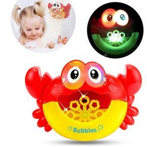 Carremark Bubble Maker Machine à Bulles Automatique de Crabe Clignotant lumières Musique bébé Jouet de Bain