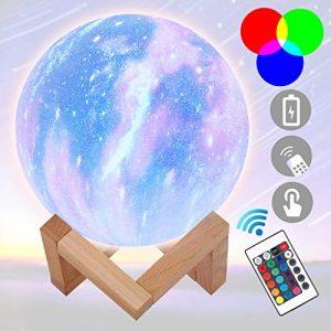 fang FANS Lampe Lune 3D, Veilleuse LED Lampe Lune avec Télécommande, Lampe de nuit RGB Moonlight avec Interrupteur Tactile Gradable à Piles, avec Minuterie, USB Rechargeable (C, 15 CM)