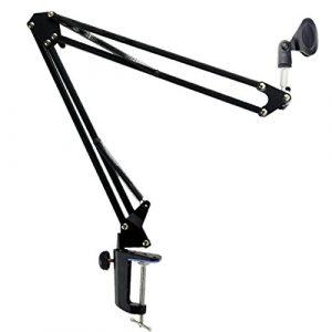 Foxnovo Radiodiffusion durable Studio Microphone Mic Suspension ciseaux bras perche (noir)