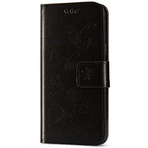JAWSEU Coque Sony Xperia XZ3,Etui Sony Xperia XZ3 Portefeuille PU Étui Cuir à Rabat Magnétique Luxe Élégant Papillon Fleur Ultra Mince Stand Leather PU Flip Wallet Case Cover,Noir