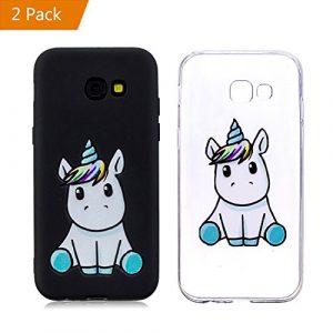 KM-Panda Coque Samsung Galaxy A5 2016 Licorne Noir + Transparent Silicone TPU Transparent Motif Ultra Fine Slim Bumper Antichoc Etui Housse Case Cover