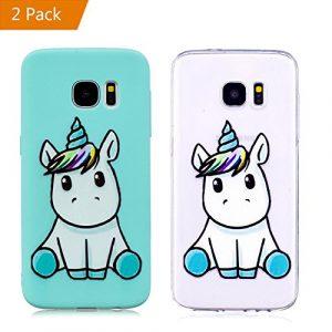 KM-Panda Coque Samsung Galaxy S7 Edge Licorne Bleu + Transparent Silicone TPU Transparent Motif Ultra Fine Slim Bumper Antichoc Etui Housse Case Cover